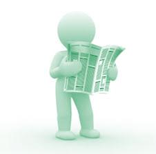 green newspaper reader